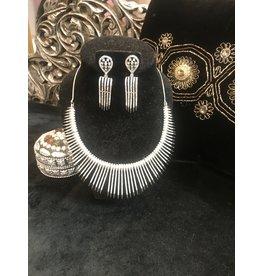 Perahun Silver fang necklace set- 23450012