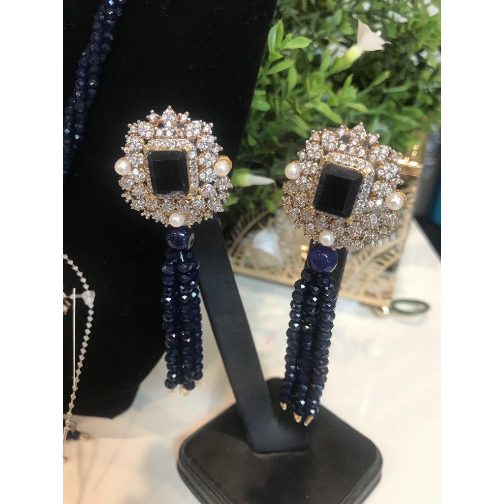 Perahun Navy Blue Long necklace set-750007