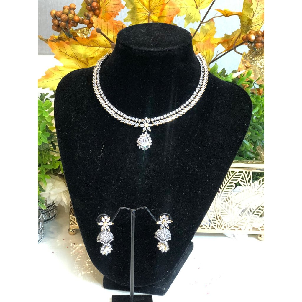 Perahun Dull silver  necklace set- 2330012