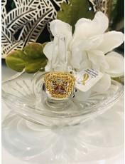 Nadia Chhotani Gold band with amethyst in diamond shape - 1336