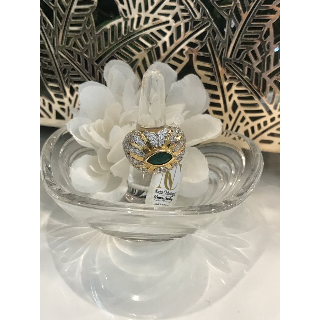 Nadia Chhotani Silver thick band with gold and emerald detail - 1368