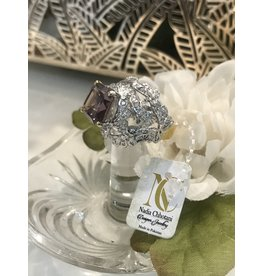 Nadia Chhotani Silver band and ameythst ring - R6433 1392