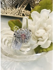 Nadia Chhotani Silver band with diamond and pink ring - IN397