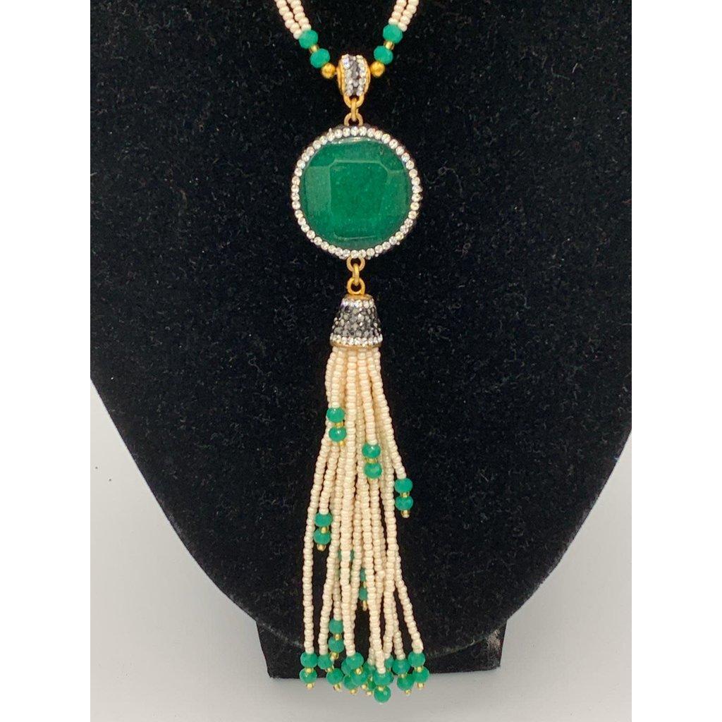 Perahun Turkish white beads green necklace - TK05