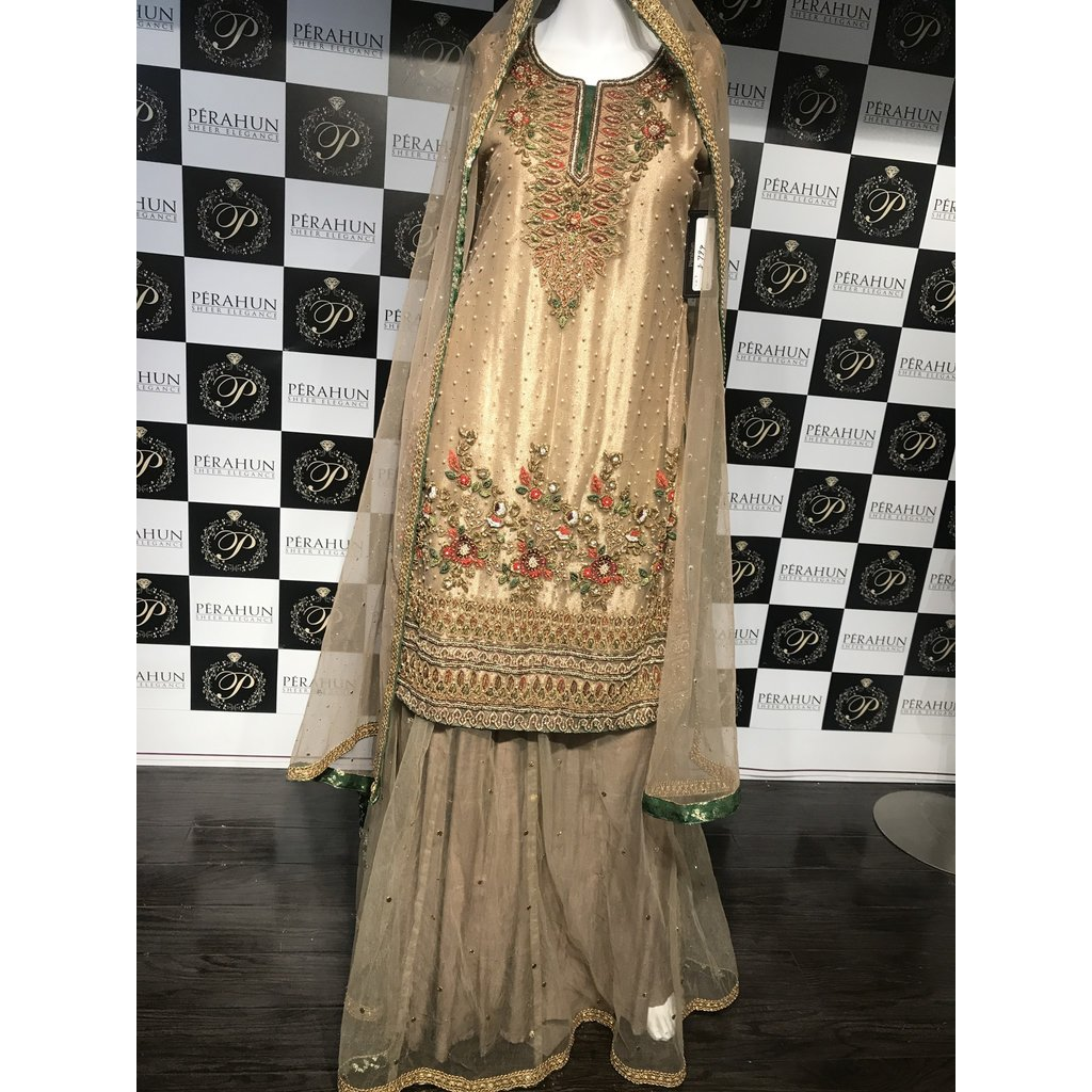 Perahun Copper and green lehnga suit- Small size PRF003