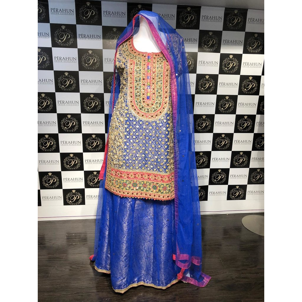 Perahun Blue gota suit with mukesh lehnga- Medium size