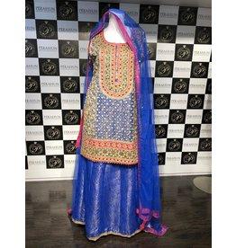 Perahun Blue gota suit with mukesh lehnga- Medium size