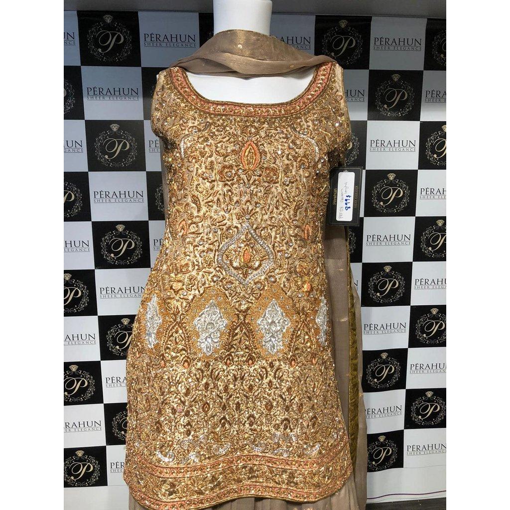Perahun Gold tissue short shirt with banarsi lehnga- PRF58 - Size Small