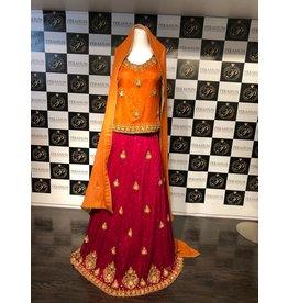 Perahun PRF017- rust and magenta mehndi bridal lehnga choli- Size Medium