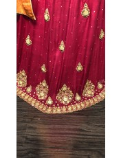 Perahun PRF017- rust and magenta mehndi bridal lehnga choli- Size Medium