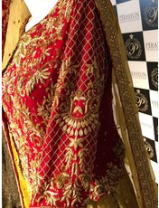 Perahun Red and Gold heavy lehnga choli- PRF023- size Medium