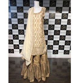 Perahun Offwhite and copper farshi gharara suit- Medium