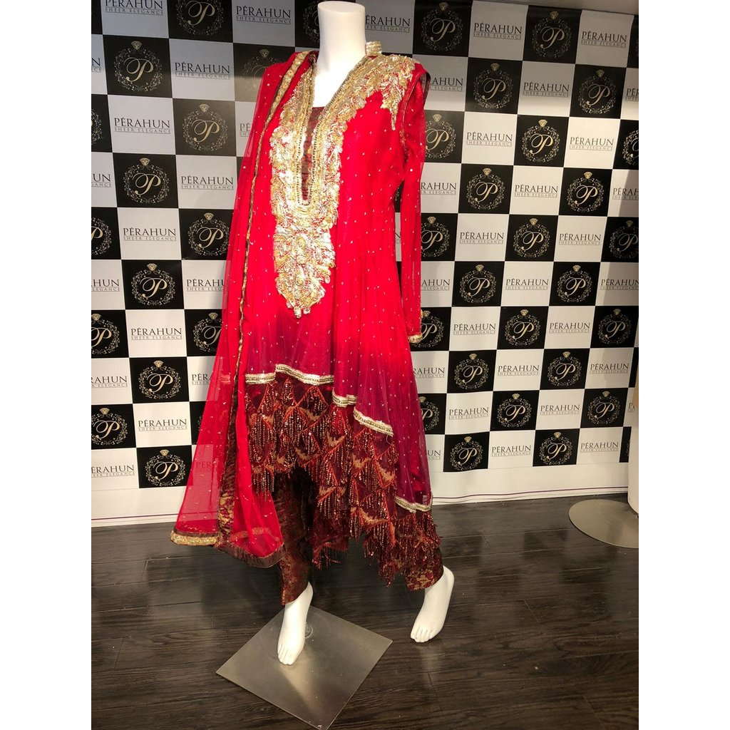 Perahun Red and maroon ombre high low dress - size Medium