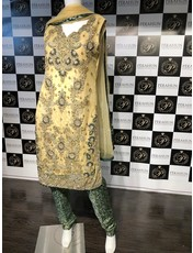 Perahun Lime green and bottle green long shirt with pants -Size Medium