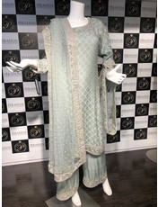Perahun Mint grey long shirt with culottes-ST01 - Size Small