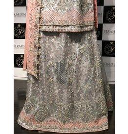 Perahun Grey and Tea pink mysori bridal Lehnga and shirt - size Medium