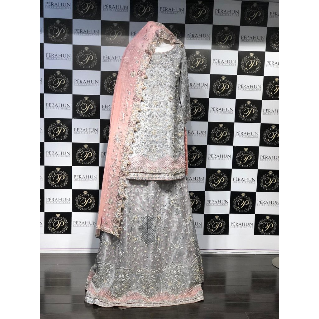 Perahun Grey and Tea pink mysori bridal Lehnga and shirt - size Medium