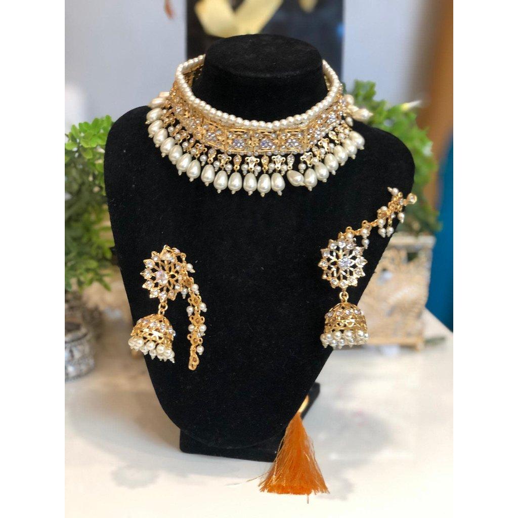 Perahun Hyderabadi  pearl choker set- PRB10