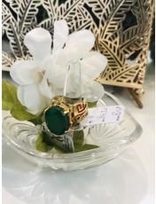 Nadia Chhotani Gold emerald band with meenakari ring - 1430