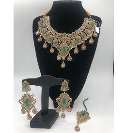 Nadia Chhotani Emerald and bronze Polki set - TST452