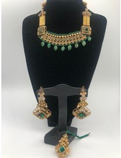 Nadia Chhotani Green and gold choker set - ST1160