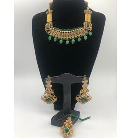 Nadia Chhotani Green and gold choker set - ST1160