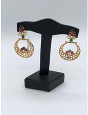 Nadia Chhotani Emerald ruby crescent earrings - ER 2060