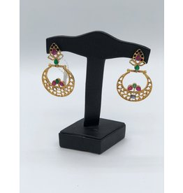 Nadia Chhotani Emerald ruby crescent earrings - ER 2060