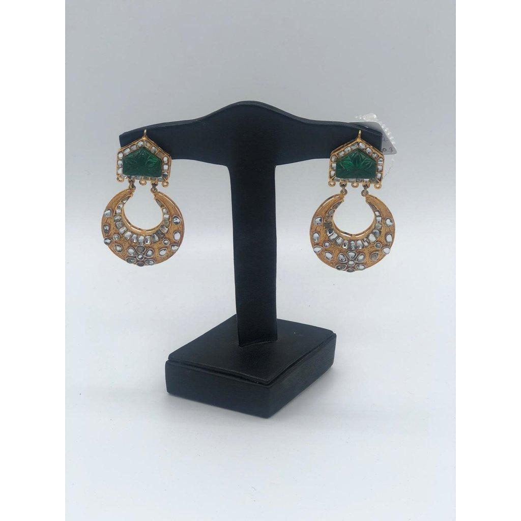 Nadia Chhotani Emerald and crescent earrings - ER2742