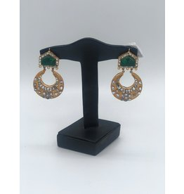 Nadia Chhotani Emerald and crescent earrings - ER2742