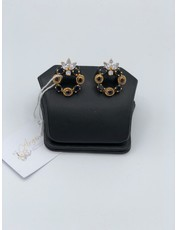 Nadia Chhotani Ring with black jewels top - ER2618