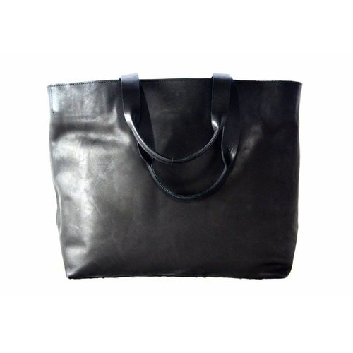 Tady Black Leather Diaper Bag