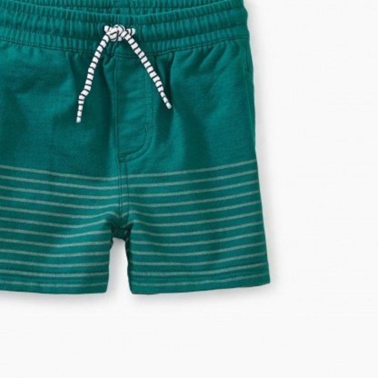 Tea Half Print Knit Baby Shorts