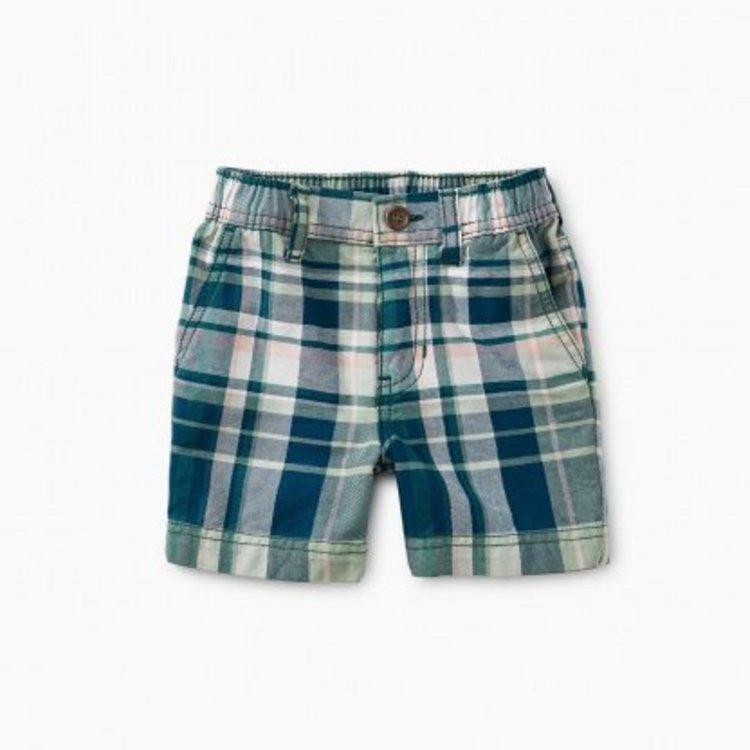 Tea Plaid Baby Travel Shorts