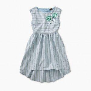 Tea Embr Cutout Back Dress