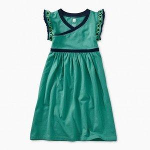 Tea Solid Wrap Neck Dress