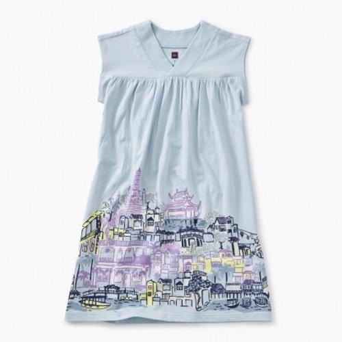 Tea City Graphic Trapeze Dress