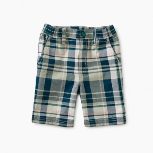 Tea Plaid Travel Shorts