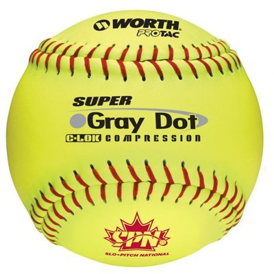 "WORTH WORTH GRAY DOT 12"" SOFTBALLS PER DOZEN"