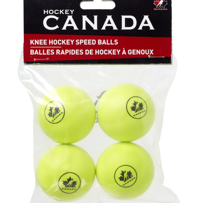 WINNWELL HOCKEY CANADA KNEE HOCKEY BALL PU YELLOW 4 PACK