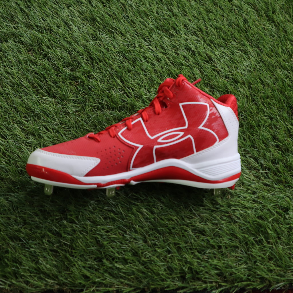 UNDERARMOUR UNDERARMOUR IGNITE MID ST CC RED/WHITE BASEBALL CLEATS
