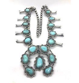 Dazzle Blue Squash Blossom Naja Necklace
