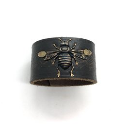 Large Leather Cuff Bee Style 9