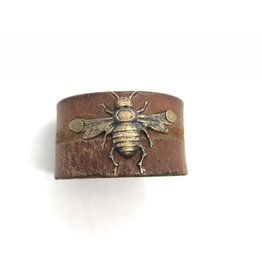 Large Leather Cuff Bee Style 8