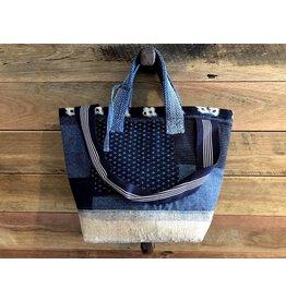 Vintage Japanese sashiko stitched boro 2way bag style 1