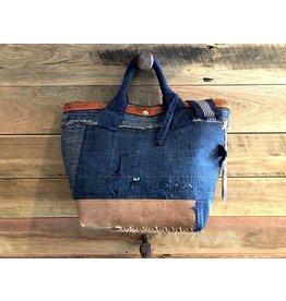 Vintage Japanese sashiko stitched boro 2way bag style 2