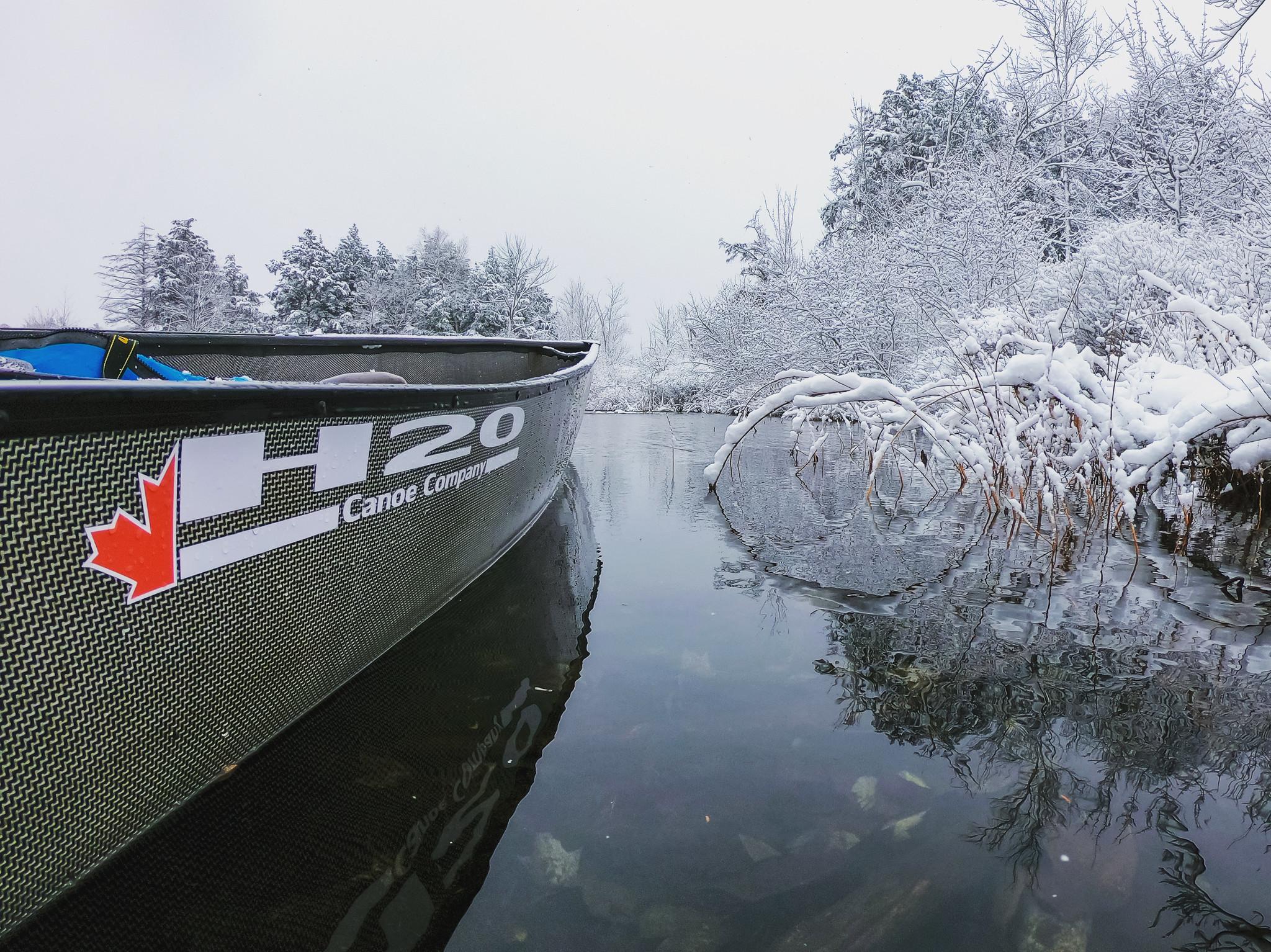 A Canoe in a winter wonderland
