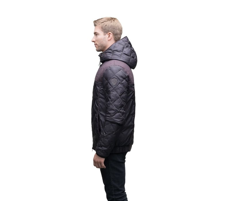 Elroy Men's Quilted Hooded Jacket MKSTF0506-BURG