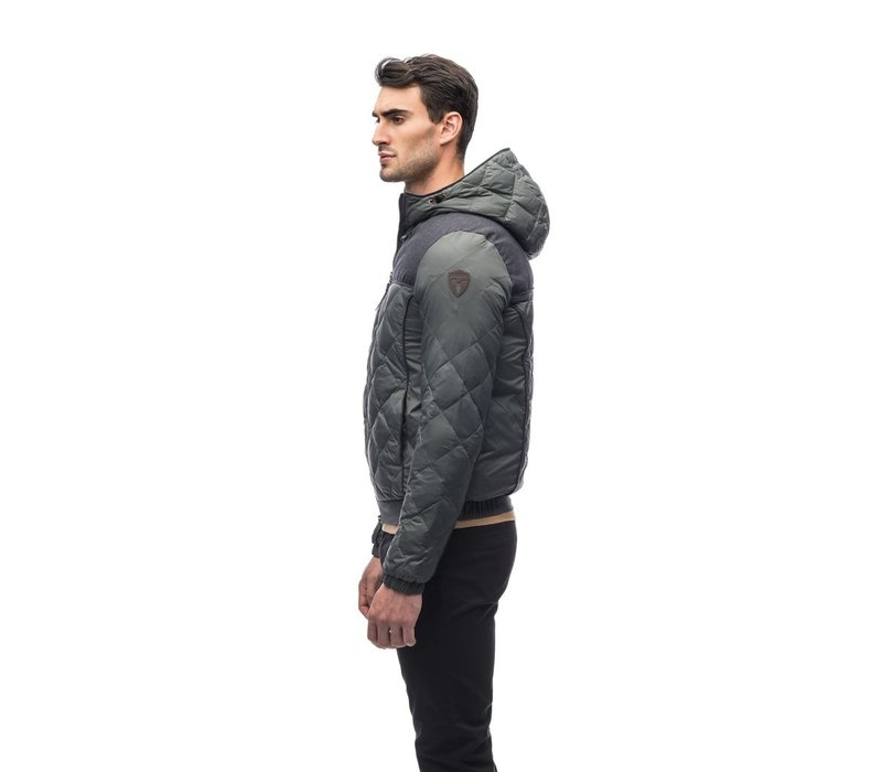 Elroy Men's Quilted Hooded Jacket MKSTF0506-NVY