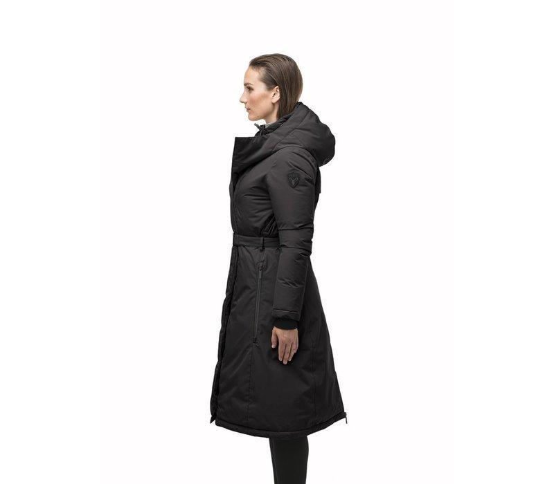 Lara Ladies Belted Parka Black